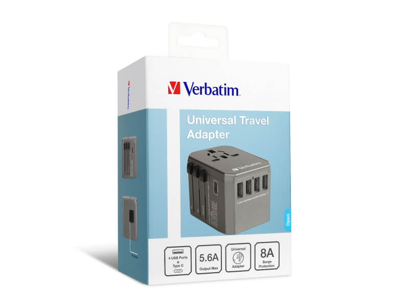 Verbatim 5 Port 5.6A Travel Adaptor (Space Grey)